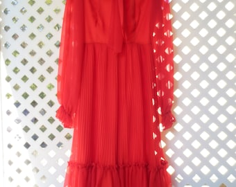 CLEARANCE - Long Red Dress by Alfred Werber Featuring Ascot Tie and Sheer Sleeves - Size 4