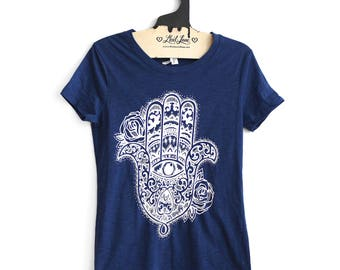 Fitted Large- Navy Crew Neck Slub Tee with Hamsa Screen Print