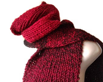 Rib Knit Scarf Red Black Ombre Men Women RYE Ready to Ship Autumn Winter Gift for Her
