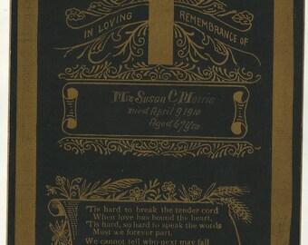 Mourning memorial death remembrance card cross Susan Morris Baltimore MD funeral