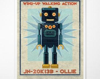 "Retro Robot Art Print- Ollie Box Art Robot Decor 8"" x 10"" Science Fiction Art for Kids Rooms or Robot Nursery Decor- Kid Bedroom"