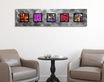 Abstract Colorful Metal Wall Art - Handmade Wall Decor With Painted Squares Accent - Modern Hanging Wall Sculpture - Jolt by Jon Allen