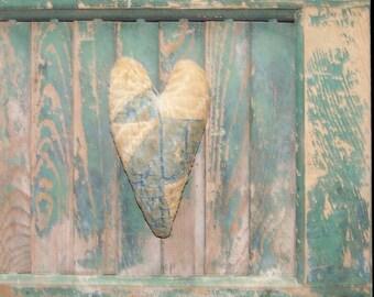 Primitive Heart, Blue Heart, Antique Quilt Heart, Farmhouse Decor, WORN OUT HEART, Rustic Heart, Primitive Decor - Ready to Ship