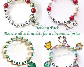 Holiday Charm Bracelets. Christmas Valentine's Day St. Patrick's Day Easter Set of Bracelets. Personalized name bracelets. Package Deal