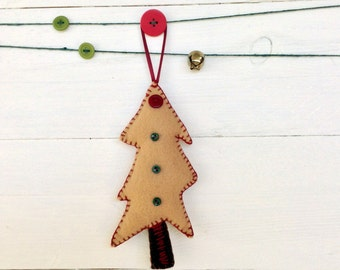 felt ornament, christmas tree ornament, wonky christmas tree, hand-stitched felt ornament,  eco friendly felt, ready to ship ornament