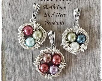 Bird's Nest Birthstone Necklace Custom Bird Nest Pendant Mother's Jewelry Grandmother's Jewelry Mother Daughter Bespoke Moms and Birds Vegan