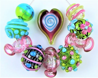 Pink Blue and Green Hollow Glass Bead Set