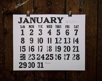 2017 Letterpress Wall Calendar