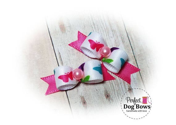 Spring Dog Bows, Butterfly Dog Bows, Small Pet Bows
