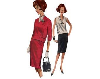 60s uncut Pencil Skirt Pattern Deep Vee Neck Blouse pattern vintage 34-26-36 Butterick 2141