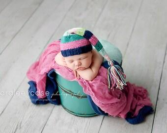 Bloom - Newborn Striped Tassel Cap