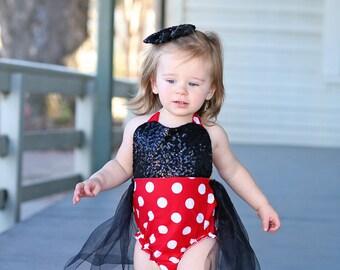 Red Polka Dot, Black Sequin Romper - Tulle skirted, Skirted, Sequin Top Romper - Sequin Romper - Birthday Romper - Photoshoot - Romper