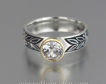SACRED LAUREL silver and 14K gold White Sapphire engagement ring