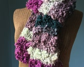 Multicolor Boucle Scarf Teal Amethyst Silver Gray Textured Scarf