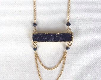Druzy Double Loop Necklace