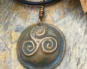 Triskele, Triskelion, Celtic Jewelry, Bronze Triple Spiral, Druid Norse Nordic, Pagan Wicca Jewelry, Spriral Necklace, Bronze Jewelry