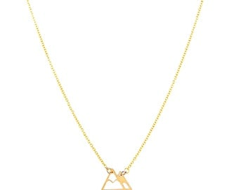 Small gold mountain necklace