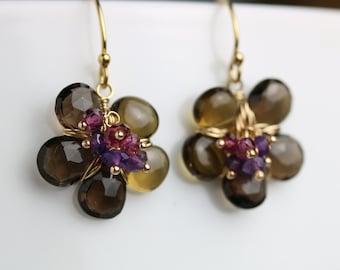 Smoky Quartz Flower Earrings with Amethyst Rhodolite Garnet Clusters. Gift for Her.