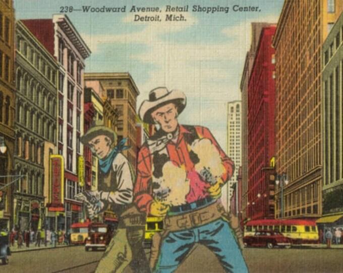 Retro Cowboy Art Collage, Pop Culture Artwork, Vintage Detroit Postcard