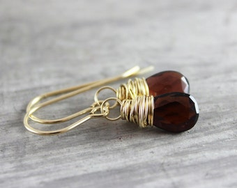 Red Garnet Earrings, Garnet Gemstone Earrings, Small Dangle Earrings, Gold Garnet Earrings, Dark Red Earrings, Garnet Stone Earrings