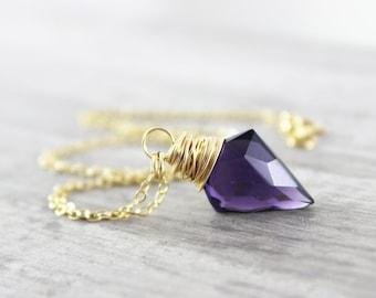 Purple Arrowhead Necklace, Dark Purple Quartz Necklace, Gold Filled Necklace, Purple Gold Necklace, Arrowhead Pendant Necklace, Wire Wrap