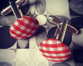 Red & White Gingham Cufflinks