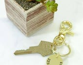 TELEPHONE NUMBER Hand Stamped Brass Keychain