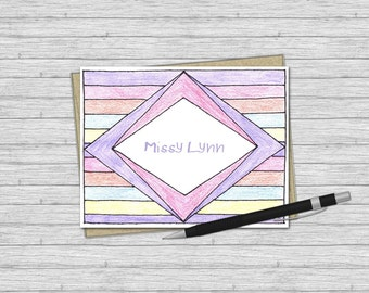 Her 1st Stationery Set - Personalized Stationery for Girls - Set of 10 - Personalized Folded Note Cards - Rainbows & Diamonds Stationery