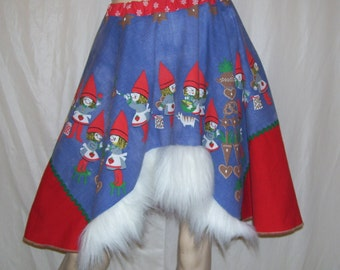 Christmas Elf Skirt Furry Trim Swedish Upcycled Tablecloth Elves Gnomes Blue Red Green Ugly Sweater Party Holiday Skirt OOAK Fur Adult XS-L