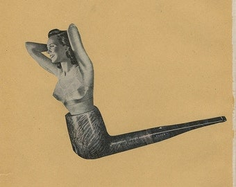 Pipe dream pinup.  Original collage by Vivienne Strauss