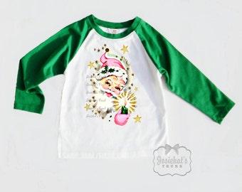 Pink Santa Shirt - Christmas Baseball GREEN - Santa Pink Gold - Girl Christmas Sibling - Retro Toddler Infant Kids - Santa Shabby Pink