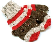 Toddler Sock Monkey Mittens. 12 to 18 Months Winter Mittens With Thumbs. Unisex Kids Handwarmers. Childs Warm Wool Thumbed Knit Mitts