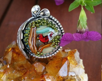 Ruby Red Cardinal In Tree Lampwork Glass & Sterling Ring