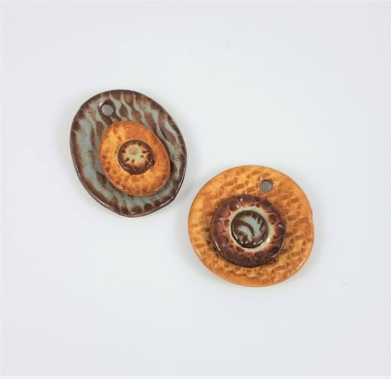 Ceramic Pottery Pendant - Stoneware Pendant - Jewelry Supply - Craft Supply - Set of 2 - Clay Pendant - Focal Bead - Handmade Pottery