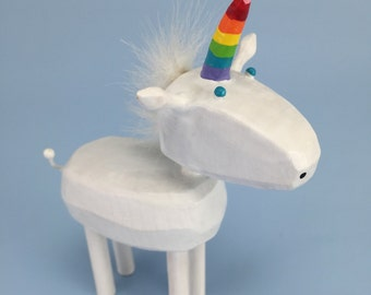 rainbow unicorn | unicorn figure | unicorn sculpture | wood unicorn | gay unicorn | unicorn cake topper | custom unicorn