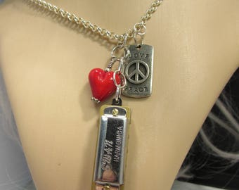 Love and Peace Harmonica Necklace