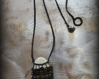 Artist Necklace, Crocheted Lace, River Stone, Handmade, Black Thread, Nature, Unique, Bohemian, Original, Ruffled, Monicaj