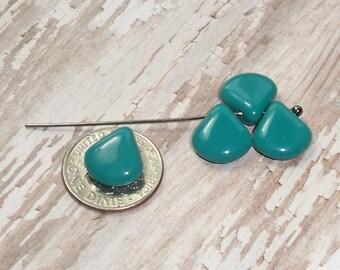 Set of 10 Turquoise Petal Beads Czech Glass 11MM (H6069)