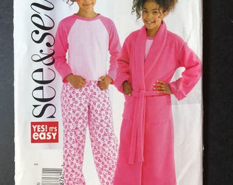Butterick See and Sew B4322 Pattern - Very Easy to sew Girl's Robe and Pajamas sizes 12-14-16