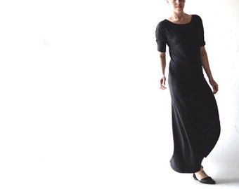 Long black dress, Maxi dress, Long dress, Tunic dress, Jersey dress, black dress,  Floor length, formal dress, Boho dress, Grecian dress