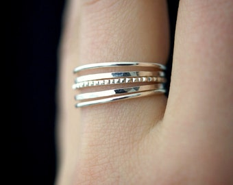 NEW Medium Thickness Sterling Silver Lined stacking ring set, silver stack ring, silver ring set, delicate silver ring, bark ring, set of 5