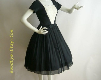 50s SILK CHIFFON Petticoat Dress /  New Look Party Hollywood Glamour Black White Lace / Size small 2 4 6 / made USA