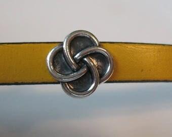 Antique silver bracelet infinity knot slider-flat leather slider-flat leather-zamak-1 pieces