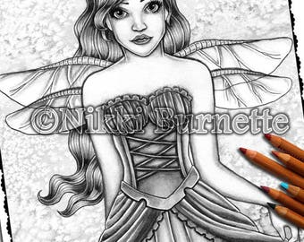 Adult Coloring Page - Grayscale Coloring Page Pack - Printable Coloring Page - Digital Download - Fantasy Art - BRINLEY - Nikki Burnette
