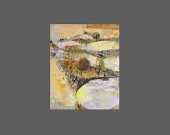 Fine art print from painting, , small,  gold, yellow, grey, ochre, brown, earth tones, modernist landscape
