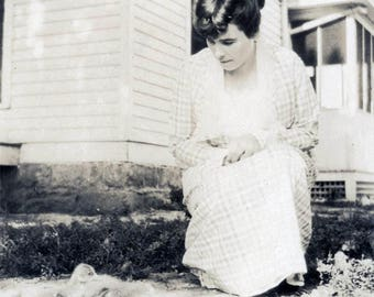vintage photo 1922 Young Lady Bends Down to Admire Her BAby Chicks Chickens