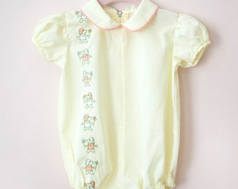 Vintage Baby Girl Romper / Vintage Yellow Paddington Bear Romper / Size 6-9 Months