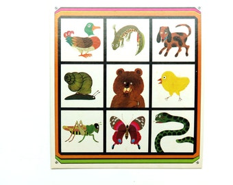 Vintage 1970s Board Game Art Print - Animal Images - 70s Dutch Wallhanging Nursery Decor - Wall Decoration - Childrens room - Ready to Frame