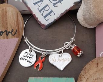 RO-1 Never Give Up / ORANGE Wire Adjustable Bangle Ribbon Charm Bracelet Leukemia Bracelet Multiple Sclerosis MS Awareness Kidney Cancer