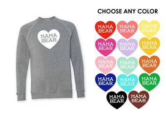 Mama Bear with Heart Heather Grey Sweatshirt - Gift for Mom, New Mom, Expecting, Family Photos, Baby Shower, Announcement